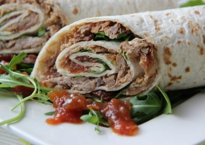 Shredded Pork Wrap with Tomato Chutney and Rocket