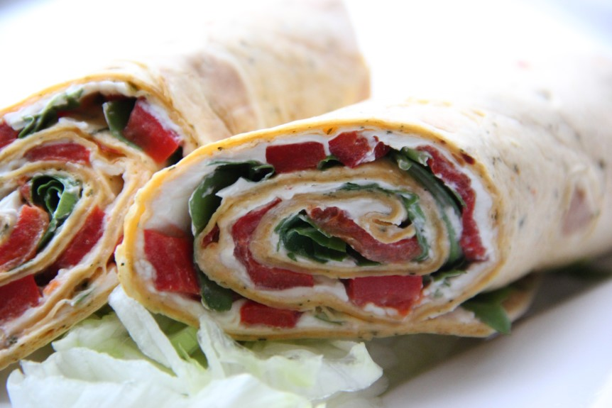 Roasted Red Pepper, Cream Cheese and Rocket Wrap